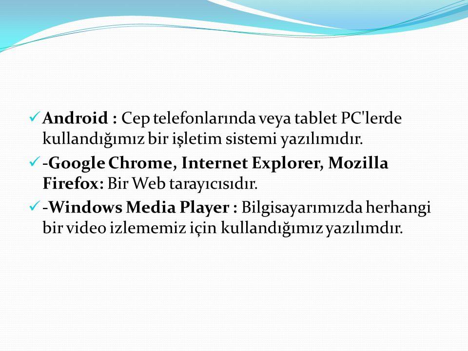 Android : Cep telefonlarında veya tablet PC lerde kullandığımız bir işletim sistemi yazılımıdır.