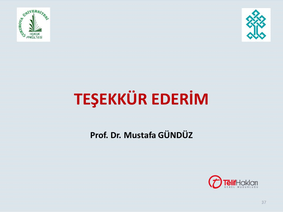 TEŞEKKÜR EDERİM Prof. Dr. Mustafa GÜNDÜZ