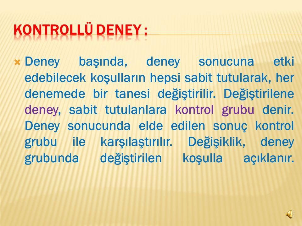 KONTROLLÜ DENEY :