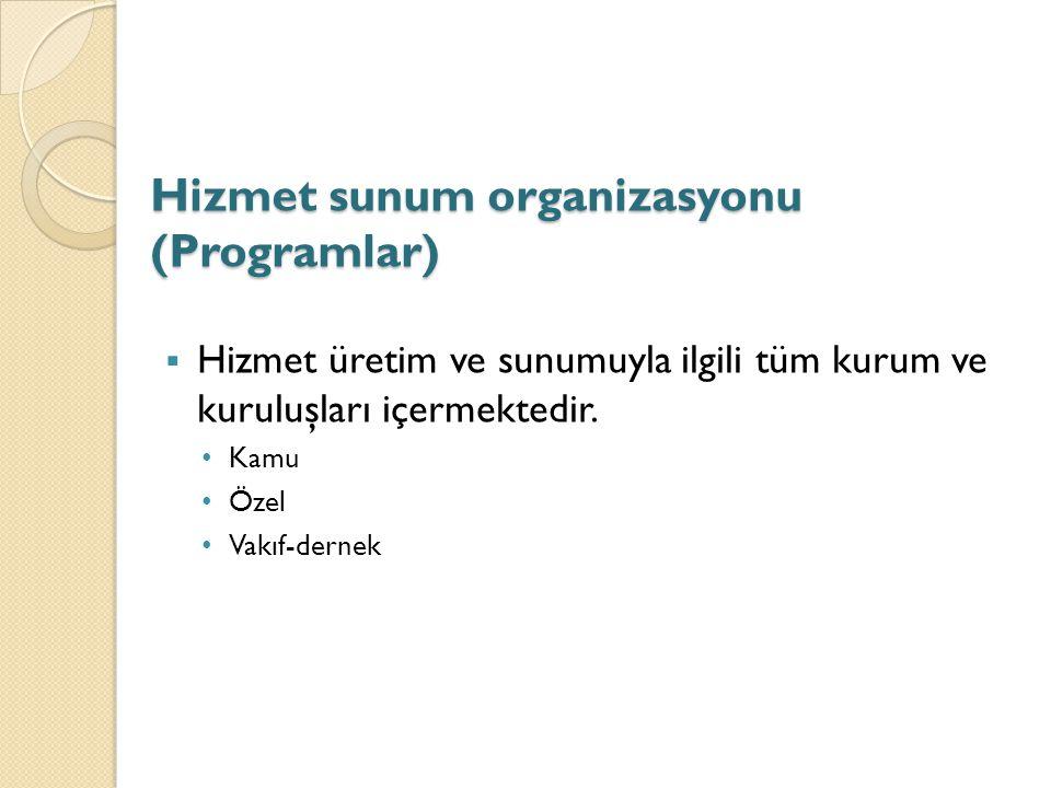 Hizmet sunum organizasyonu (Programlar)