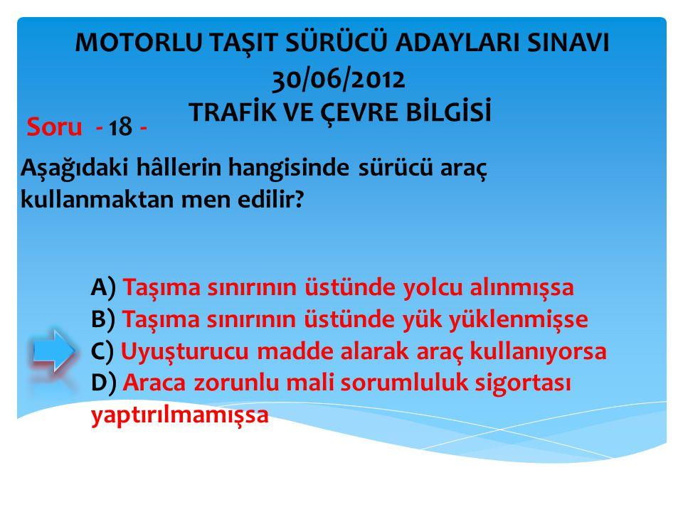 30/06/2012 MOTORLU TAŞIT SÜRÜCÜ ADAYLARI SINAVI