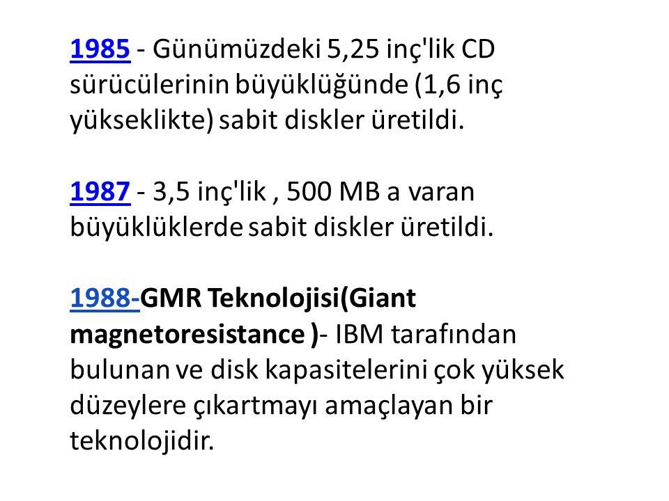 1985 - Günümüzdeki 5,25 inç lik CD sürücülerinin büyüklüğünde (1,6 inç yükseklikte) sabit diskler üretildi.