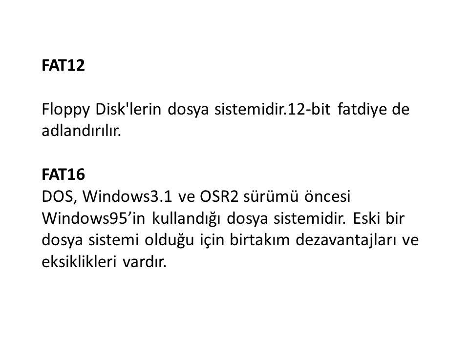 FAT12 Floppy Disk lerin dosya sistemidir.12-bit fatdiye de adlandırılır. FAT16.