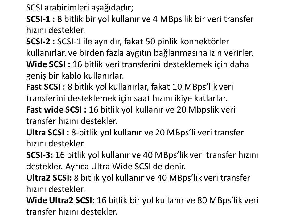 SCSI arabirimleri aşağıdadır; SCSI-1 : 8 bitlik bir yol kullanır ve 4 MBps lik bir veri transfer hızını destekler.