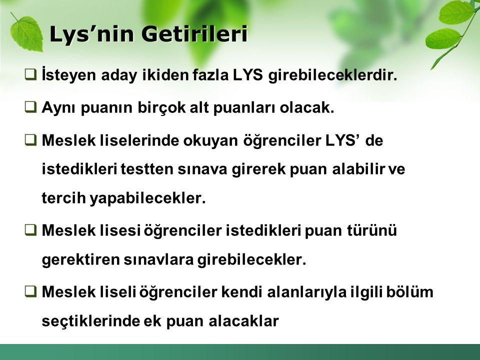 Lys'nin Getirileri İsteyen aday ikiden fazla LYS girebileceklerdir.