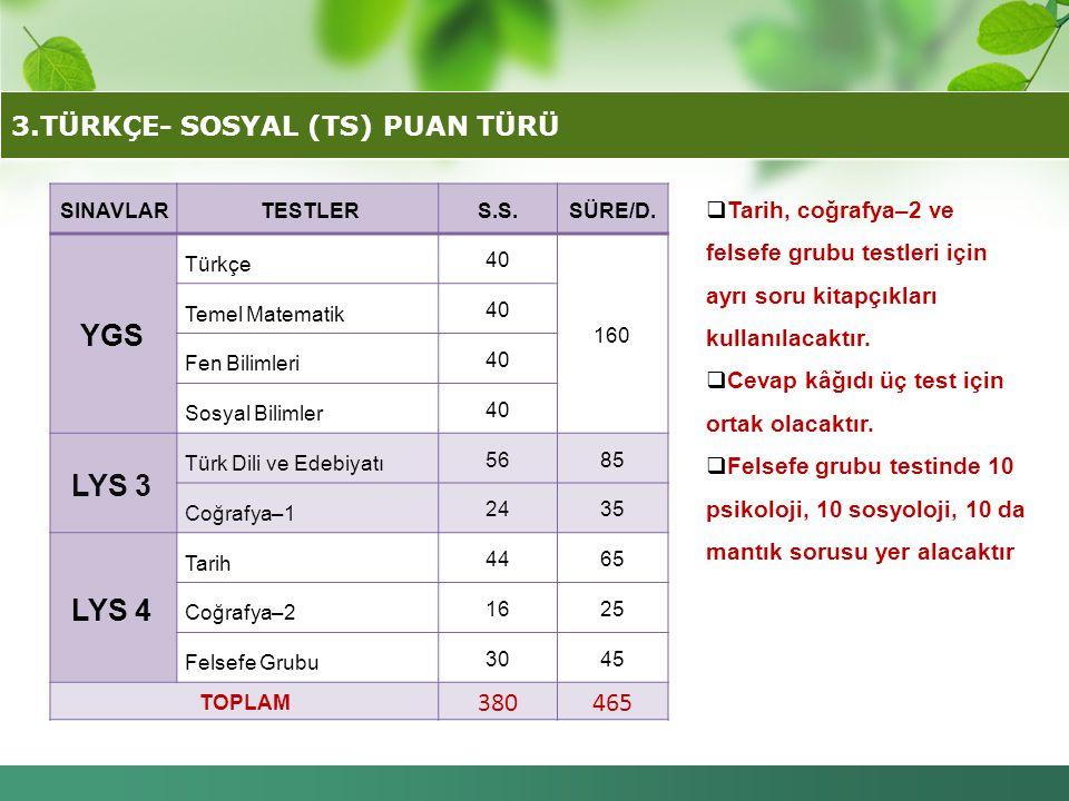 3.TÜRKÇE- SOSYAL (TS) PUAN TÜRÜ
