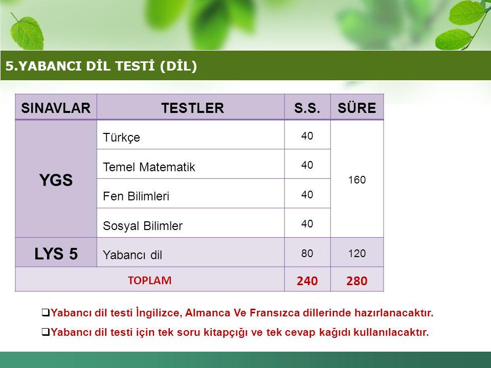 5.YABANCI DİL TESTİ (DİL)