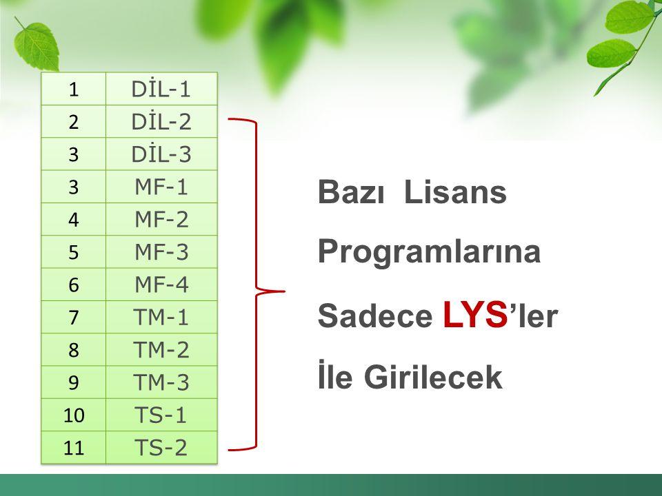 Bazı Lisans Programlarına Sadece LYS'ler İle Girilecek