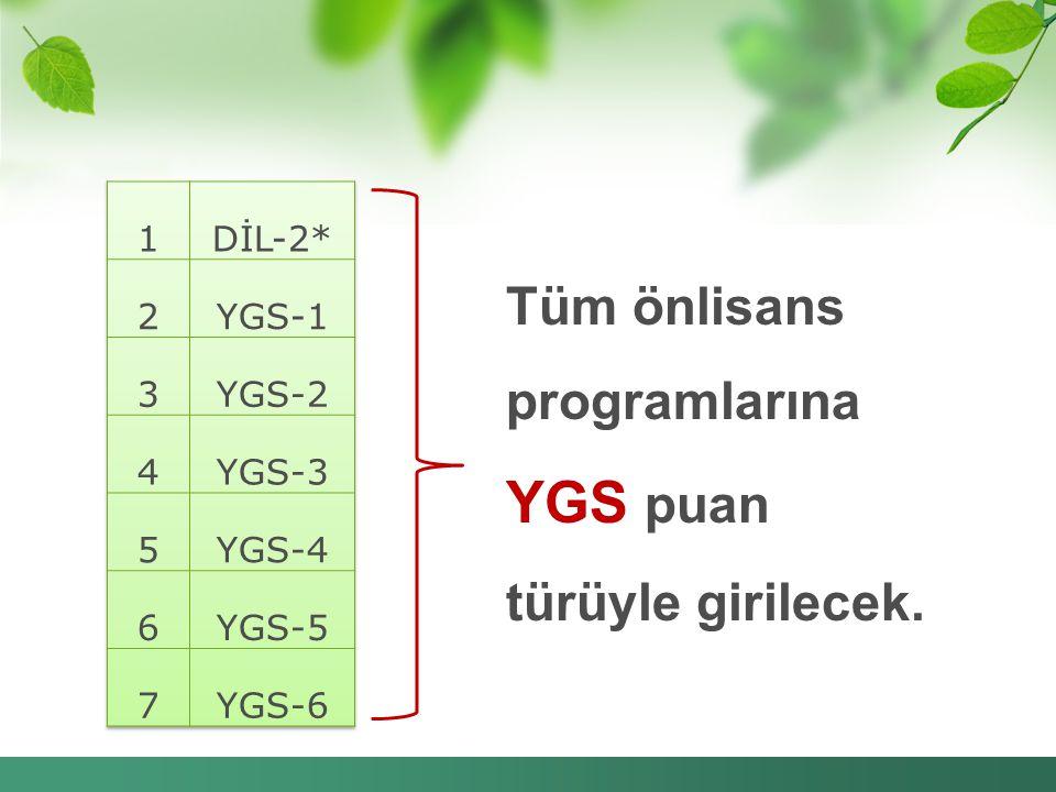 Tüm önlisans programlarına YGS puan türüyle girilecek.