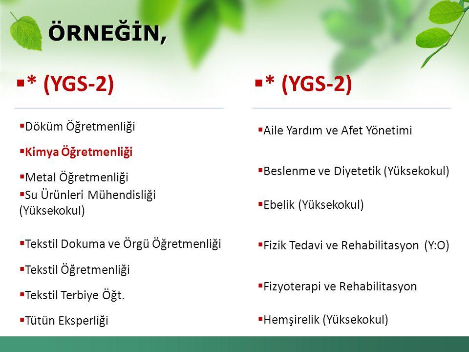 * (YGS-2) * (YGS-2) ÖRNEĞİN, Döküm Öğretmenliği Kimya Öğretmenliği