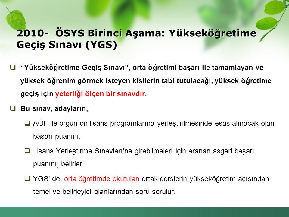 2010- ÖSYS Birinci Aşama: Yükseköğretime Geçiş Sınavı (YGS)