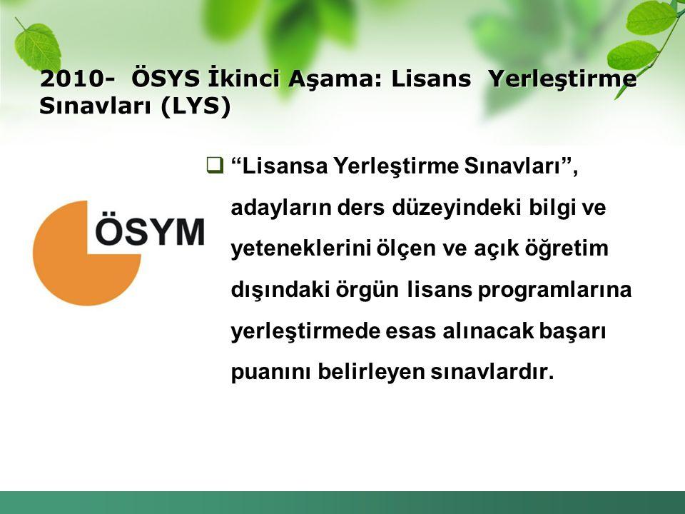 2010- ÖSYS İkinci Aşama: Lisans Yerleştirme Sınavları (LYS)