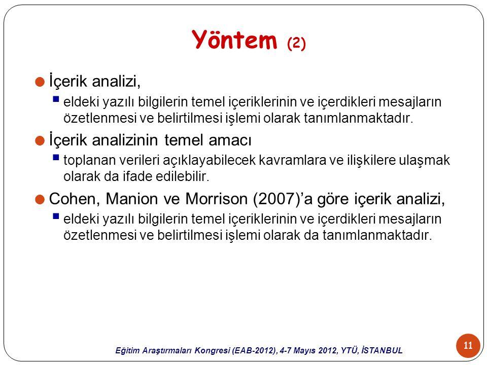 Yöntem (2) İçerik analizi, İçerik analizinin temel amacı