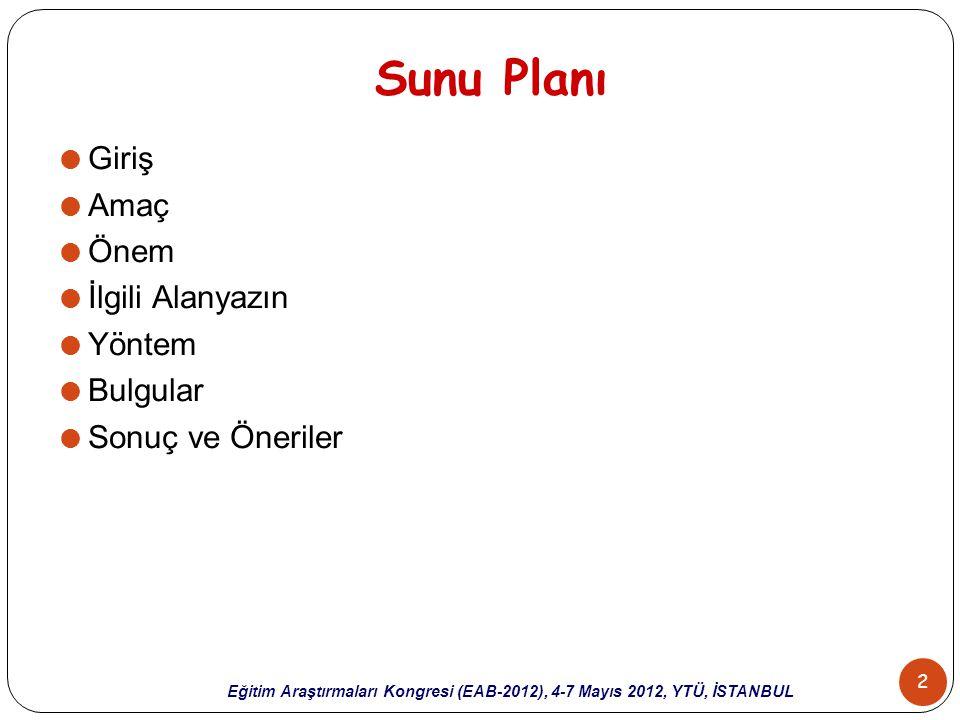 Sunu Planı Giriş Amaç Önem İlgili Alanyazın Yöntem Bulgular