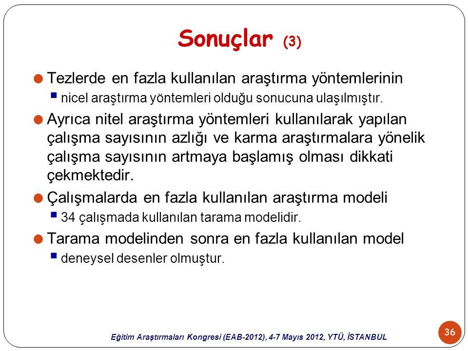 Sonuçlar (3) Tezlerde en fazla kullanılan araştırma yöntemlerinin