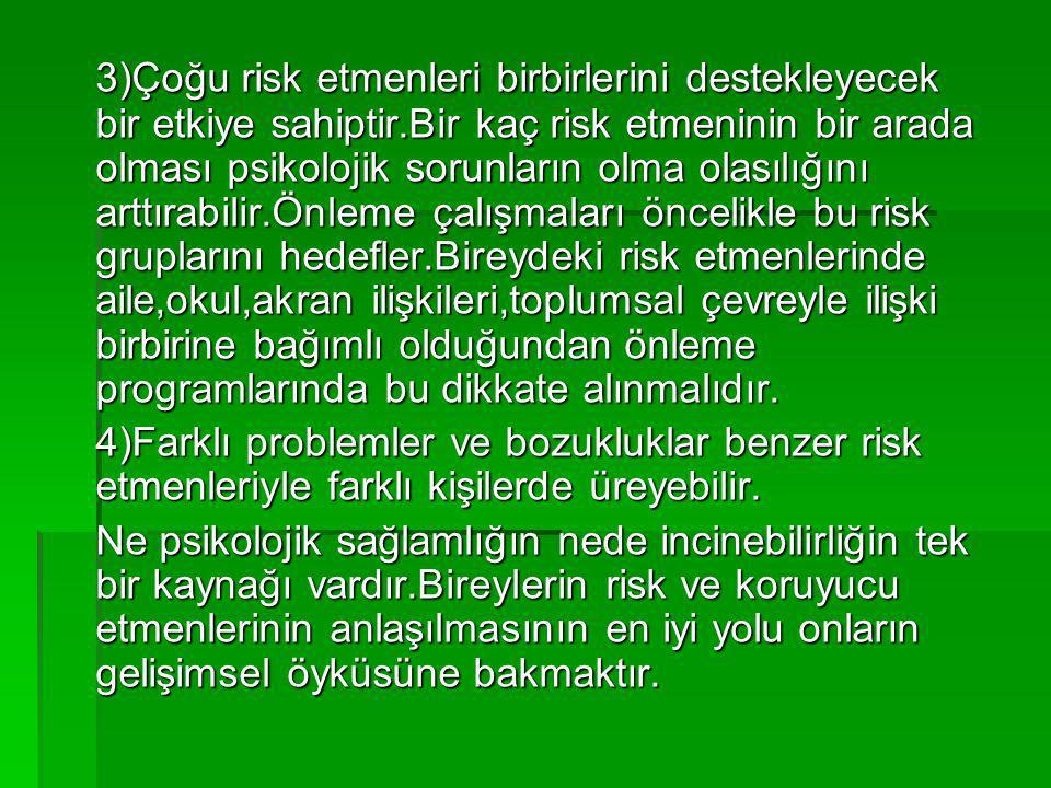 3)Çoğu risk etmenleri birbirlerini destekleyecek bir etkiye sahiptir