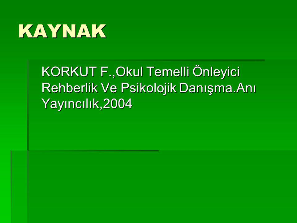 KAYNAK KORKUT F.,Okul Temelli Önleyici Rehberlik Ve Psikolojik Danışma.Anı Yayıncılık,2004