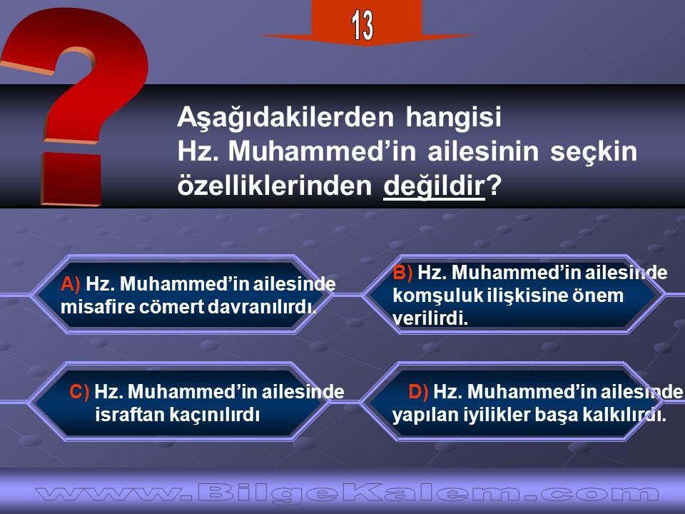13 Aşağıdakilerden hangisi. Hz. Muhammed'in ailesinin seçkin. özelliklerinden değildir