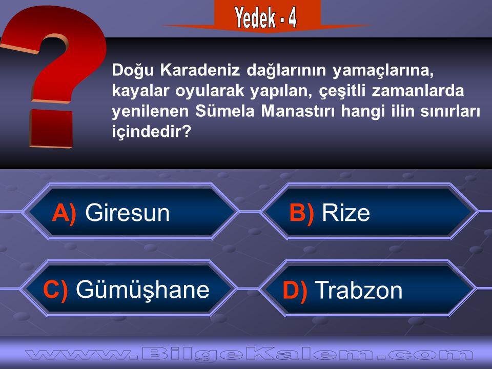 Yedek - 4 A) Giresun B) Rize