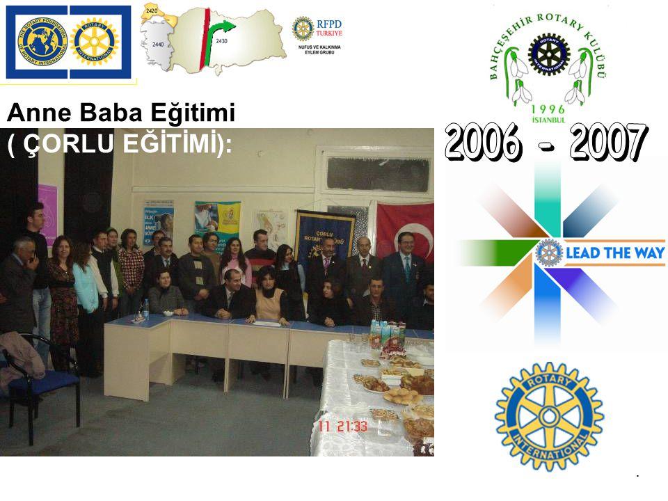 2006 - 2007 Anne Baba Eğitimi ( ÇORLU EĞİTİMİ): .
