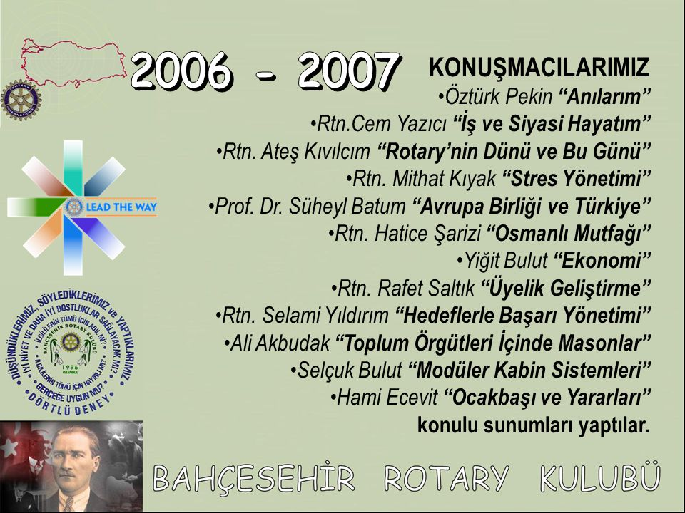 2006 - 2007 KONUŞMACILARIMIZ Öztürk Pekin Anılarım