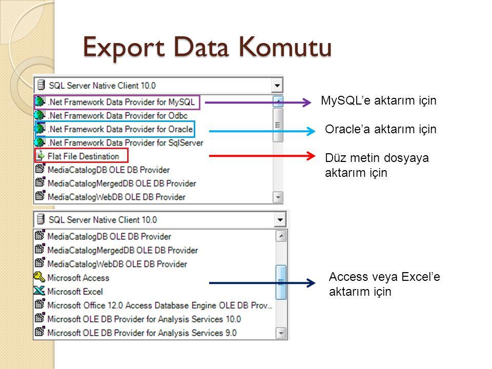 Export Data Komutu MySQL'e aktarım için Oracle'a aktarım için