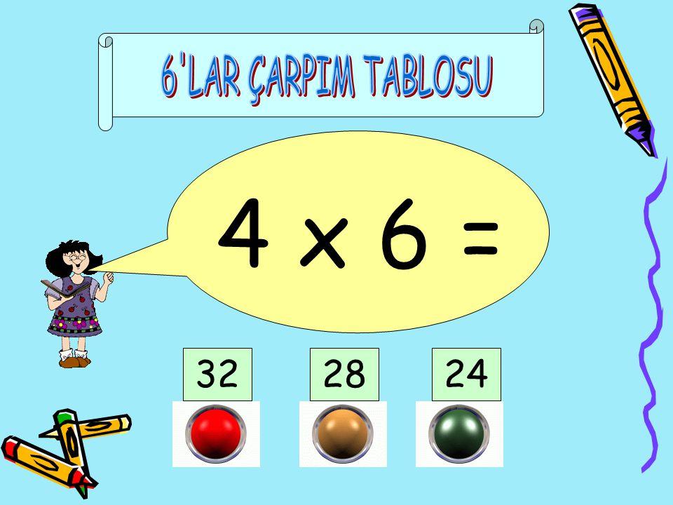 6 LAR ÇARPIM TABLOSU 4 x 6 = 32 28 24