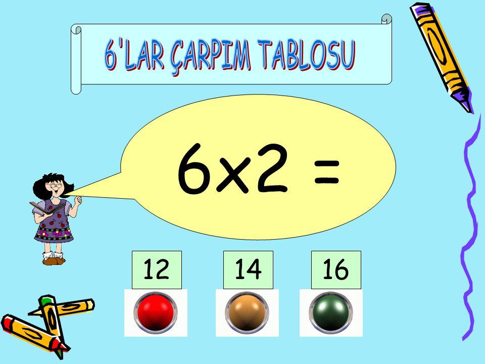 6 LAR ÇARPIM TABLOSU 6x2 = 12 14 16