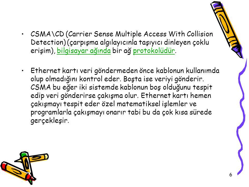 CSMA\CD (Carrier Sense Multiple Access With Collision Detection) (çarpışma algılayıcınla taşıyıcı dinleyen çoklu erişim), bilgisayar ağında bir ağ protokolüdür.