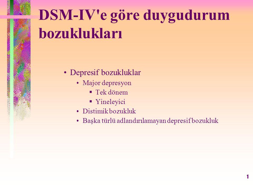 DSM-IV e göre duygudurum bozuklukları