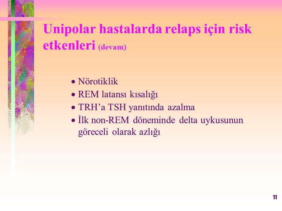 Unipolar hastalarda relaps için risk etkenleri (devam)