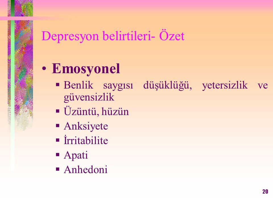 Depresyon belirtileri- Özet