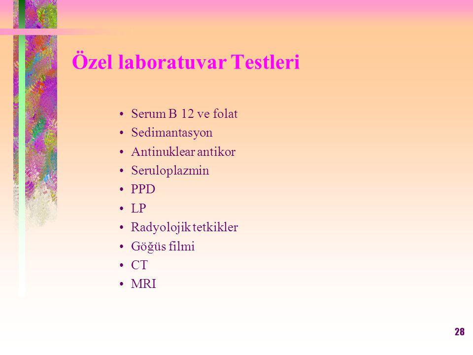 Özel laboratuvar Testleri