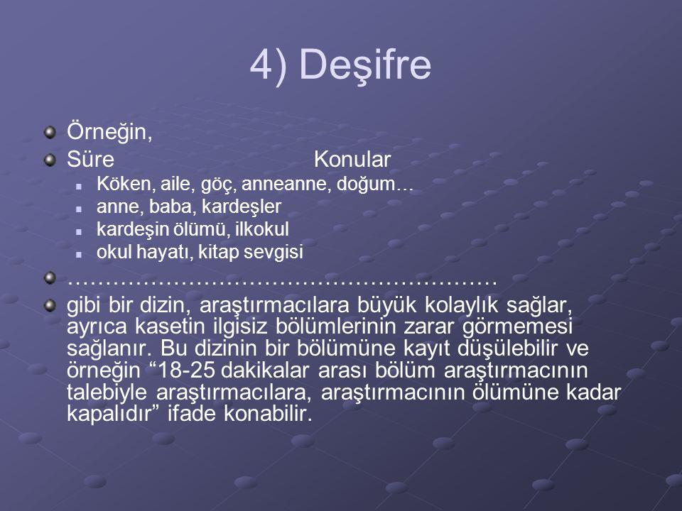 4) Deşifre Örneğin, Süre Konular …………………………………………………