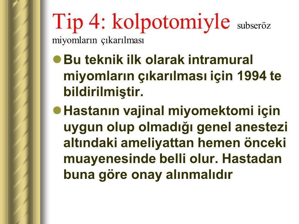 Tip 4: kolpotomiyle subseröz miyomların çıkarılması