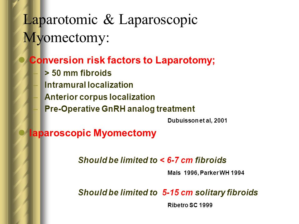Laparotomic & Laparoscopic Myomectomy: