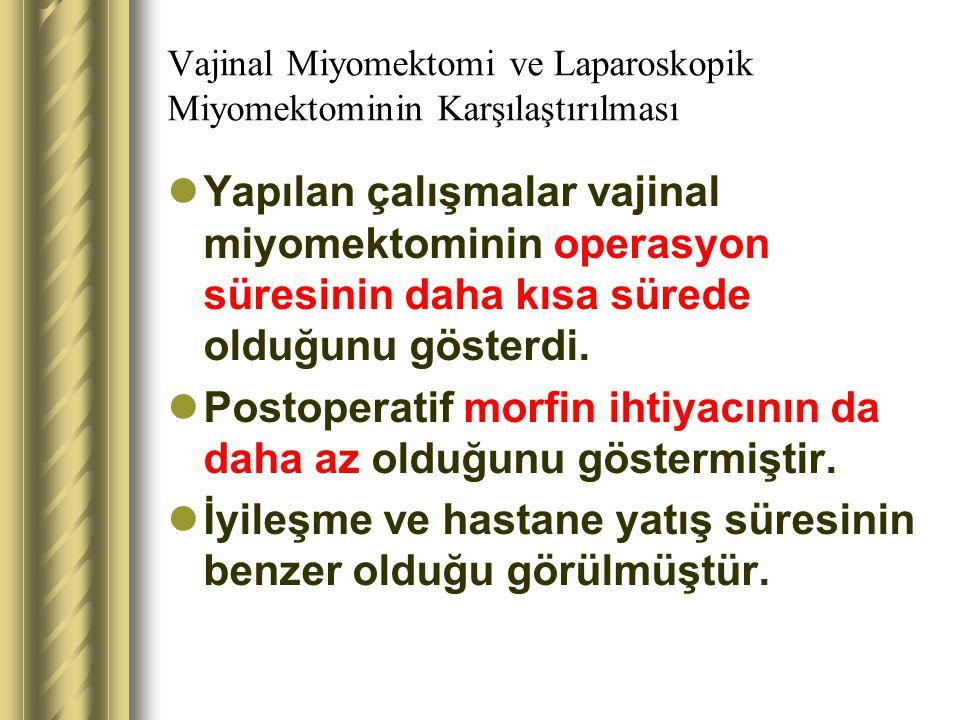 Vajinal Miyomektomi ve Laparoskopik Miyomektominin Karşılaştırılması