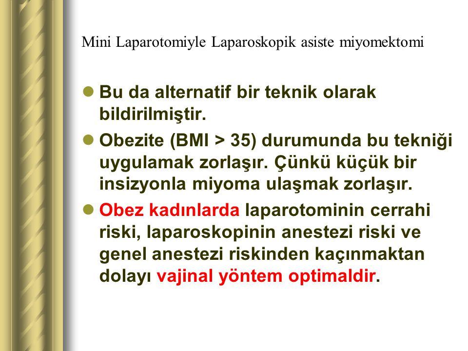 Mini Laparotomiyle Laparoskopik asiste miyomektomi