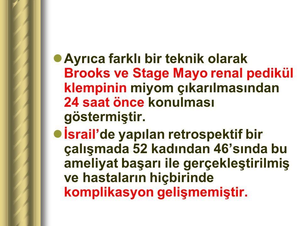 Ayrıca farklı bir teknik olarak Brooks ve Stage Mayo renal pedikül klempinin miyom çıkarılmasından 24 saat önce konulması göstermiştir.
