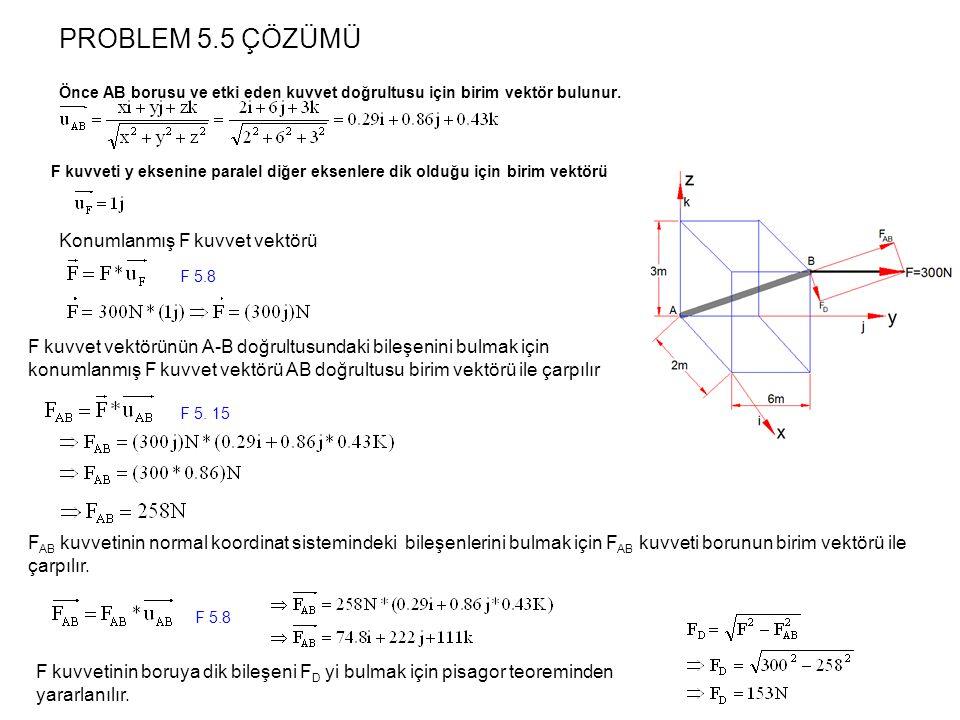 PROBLEM 5.5 ÇÖZÜMÜ Konumlanmış F kuvvet vektörü