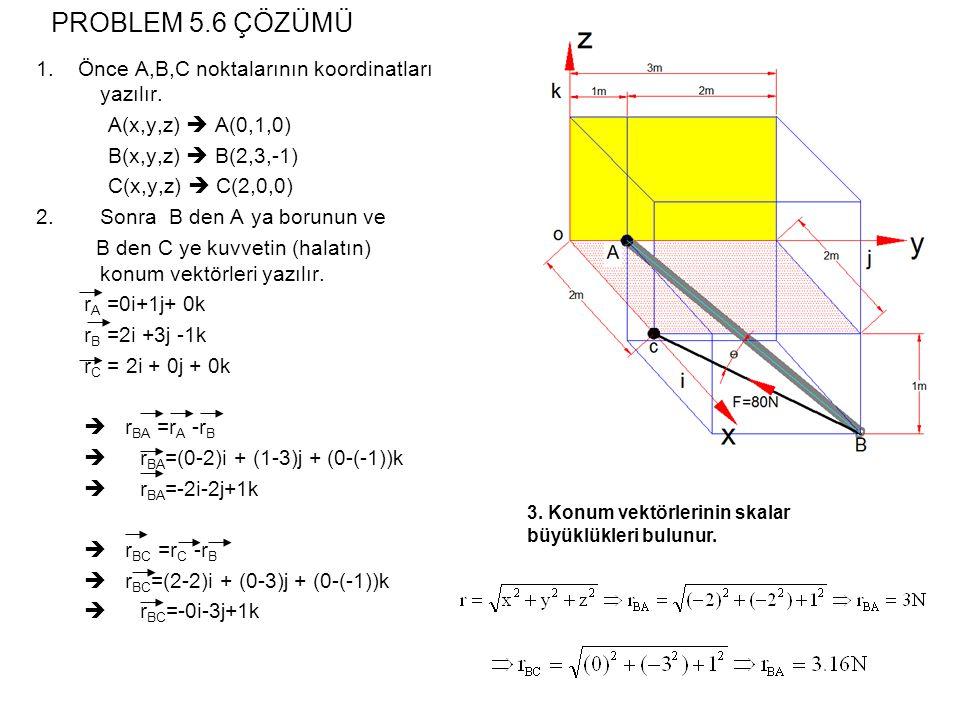 PROBLEM 5.6 ÇÖZÜMÜ 1. Önce A,B,C noktalarının koordinatları yazılır.