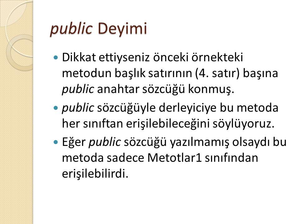 public Deyimi Dikkat ettiyseniz önceki örnekteki metodun başlık satırının (4. satır) başına public anahtar sözcüğü konmuş.
