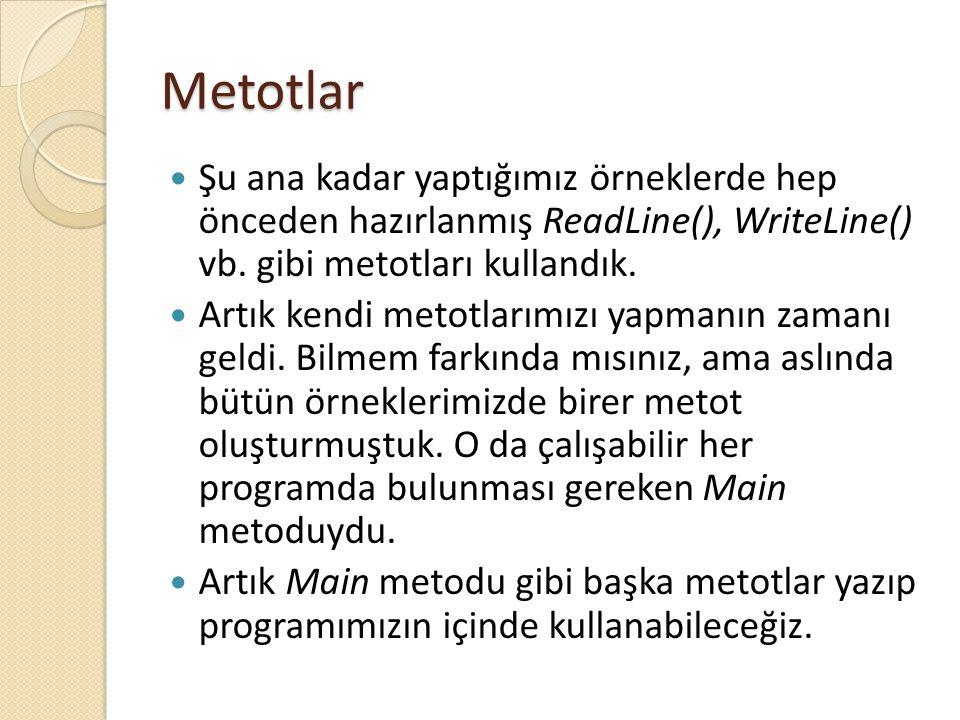 Metotlar Şu ana kadar yaptığımız örneklerde hep önceden hazırlanmış ReadLine(), WriteLine() vb. gibi metotları kullandık.