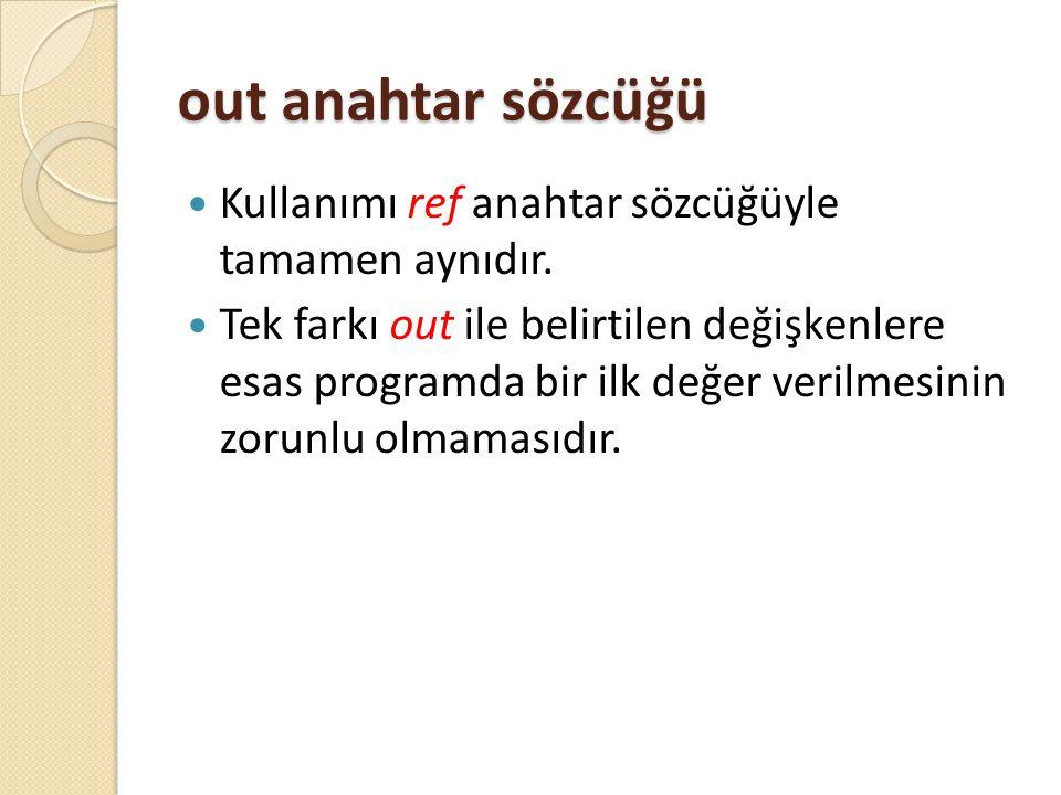 out anahtar sözcüğü Kullanımı ref anahtar sözcüğüyle tamamen aynıdır.