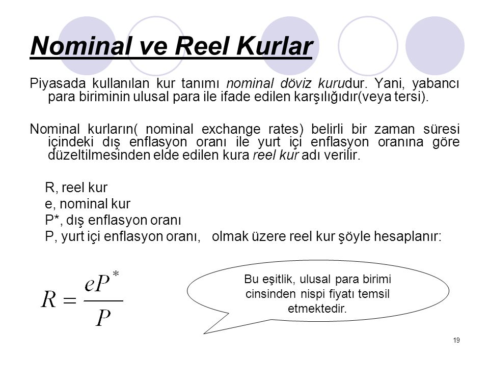 Nominal ve Reel Kurlar