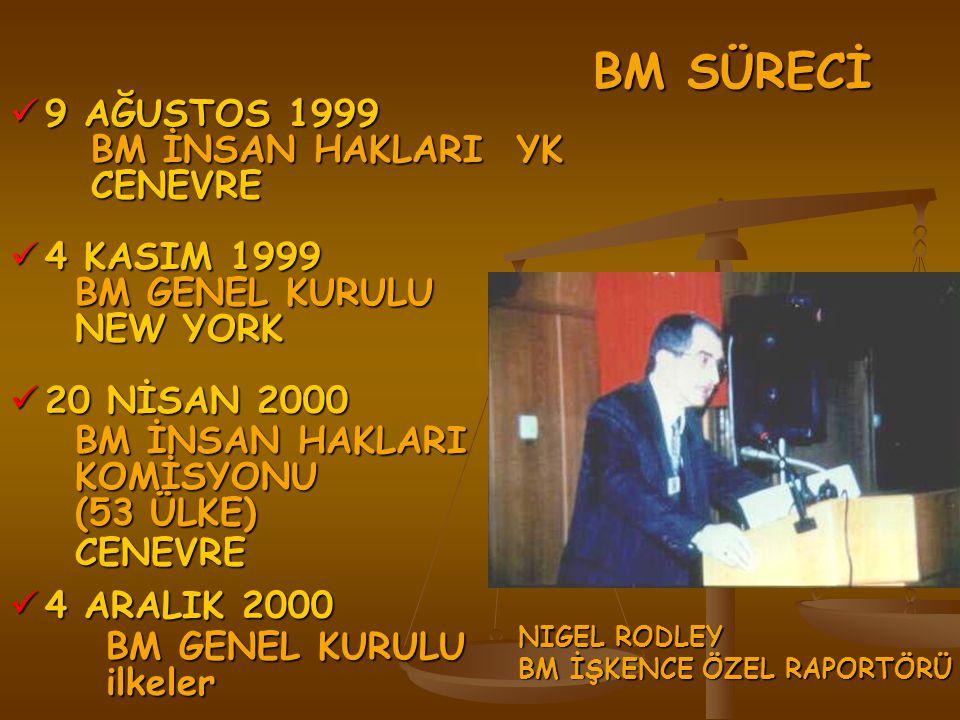 BM SÜRECİ 9 AĞUSTOS 1999 BM İNSAN HAKLARI YK CENEVRE 4 KASIM 1999