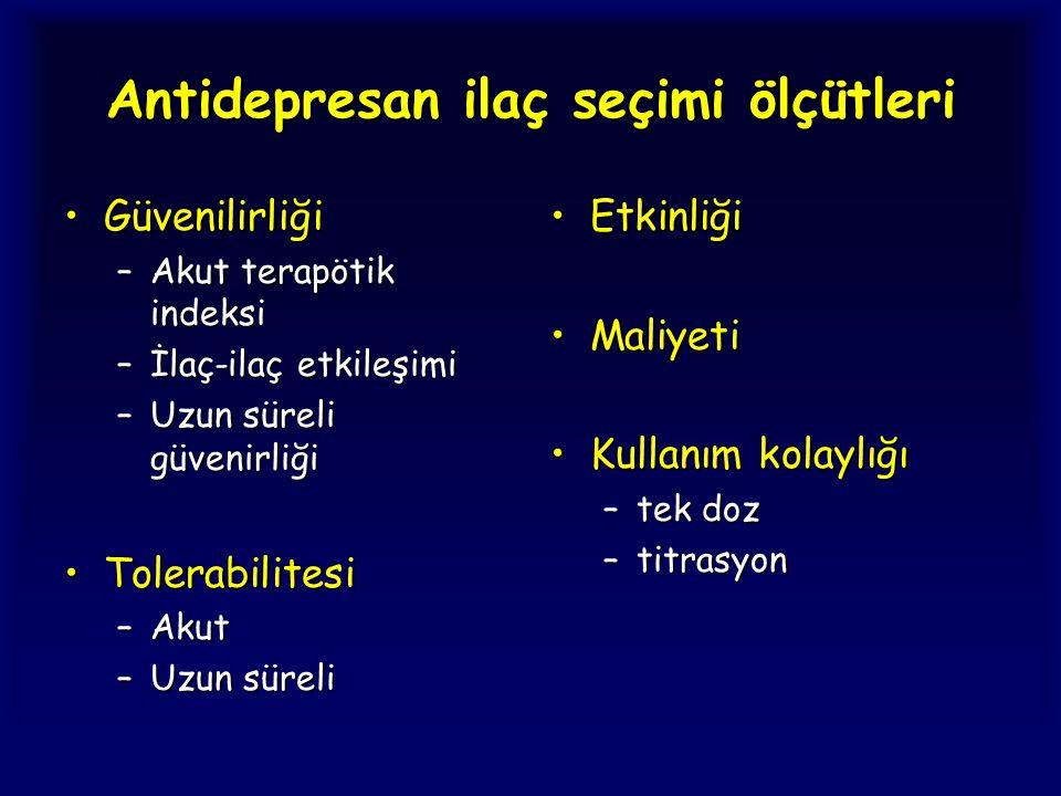 Antidepresan ilaç seçimi ölçütleri