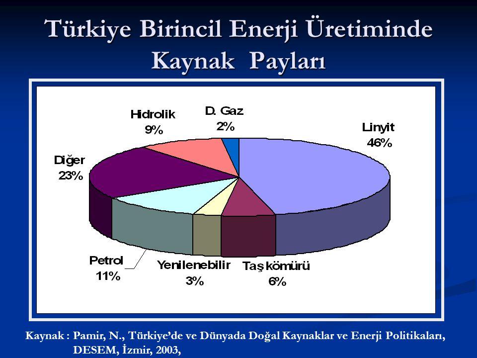 Türkiye Birincil Enerji Üretiminde Kaynak Payları