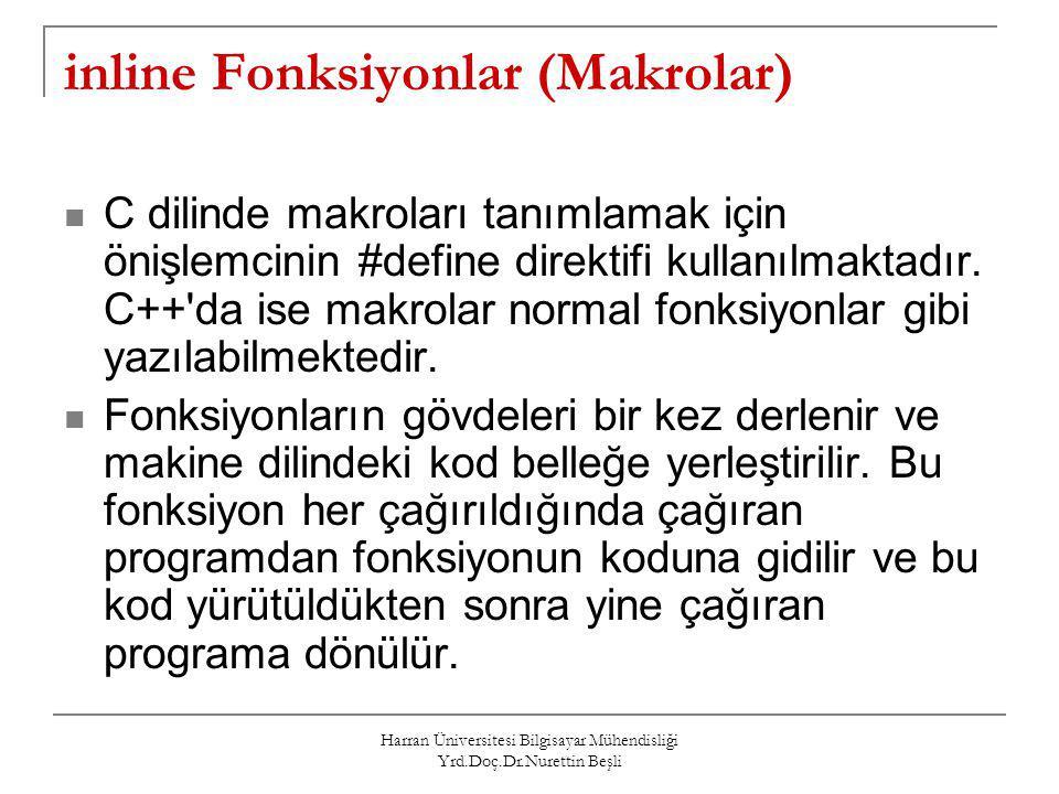 inline Fonksiyonlar (Makrolar)