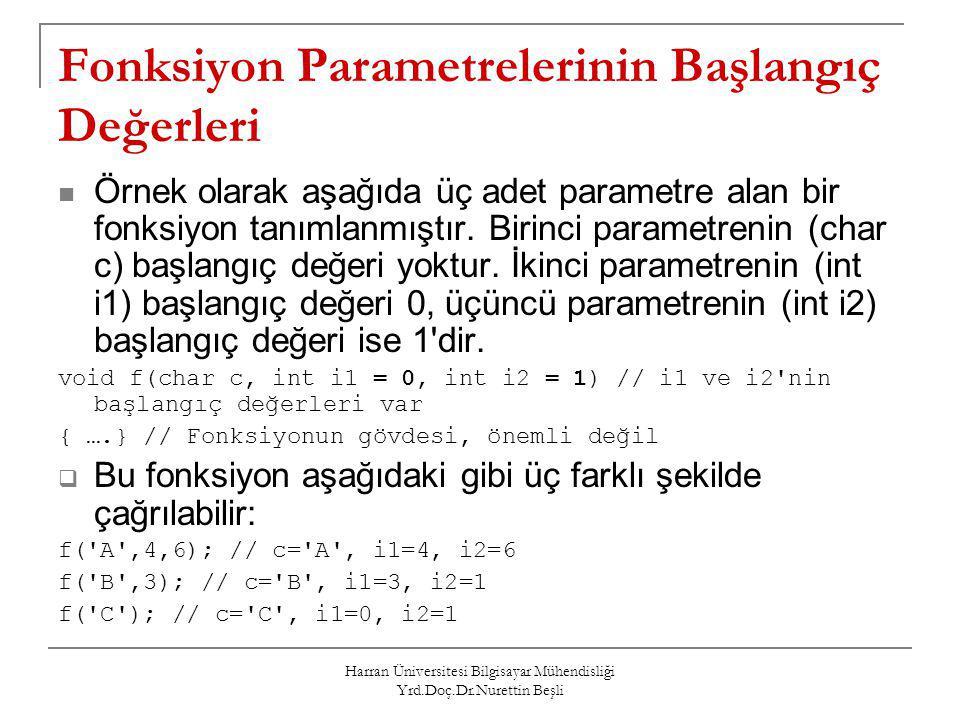 Fonksiyon Parametrelerinin Başlangıç Değerleri